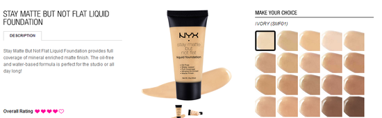 nyx cosmetics- stay matte not flat foundation