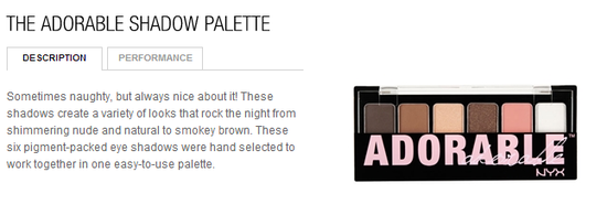 nyx cosmetics-adorable shadow palette