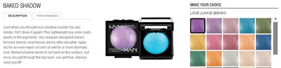 nyx cosmetics- baked shawdow