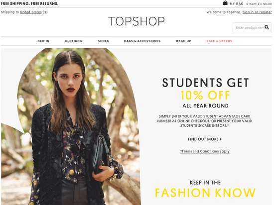 Top Shop-Student Discount