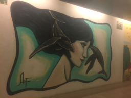 Spray-paint art on the walls of Milano Porta Garibaldi Train Station