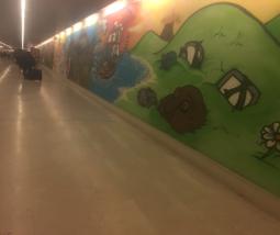 Spray-paint art on the walls of Milano Porta Garibaldi Train Station